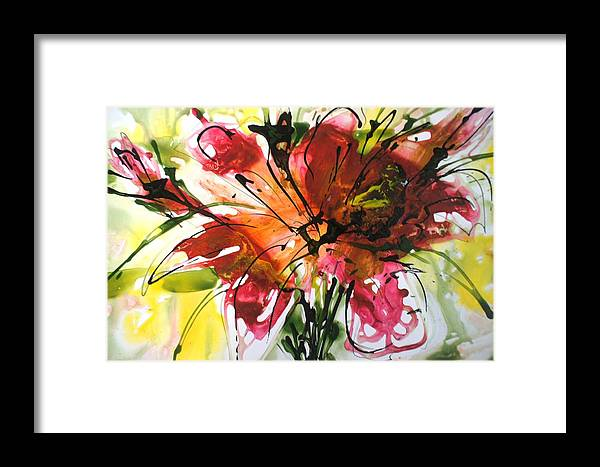 Flowers Framed Print featuring the painting Divine Blooms-21082 by Baljit Chadha