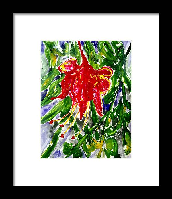 Abstract Flowers Framed Print featuring the painting Divine Fllowers by Baljit Chadha