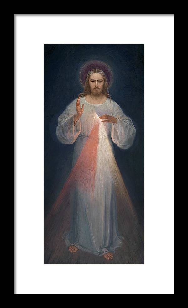 Eugene Kazimierowski Framed Print featuring the painting Divine Mercy by Eugene Kazimierowski