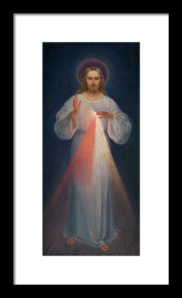 Divine Mercy Framed Print featuring the painting Divine Mercy by Kazimierowski Eugene