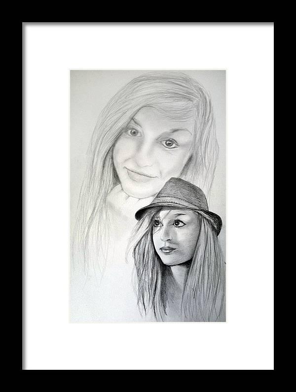 Pencil Framed Print featuring the drawing Dj-minnie by Stanislav Ballok