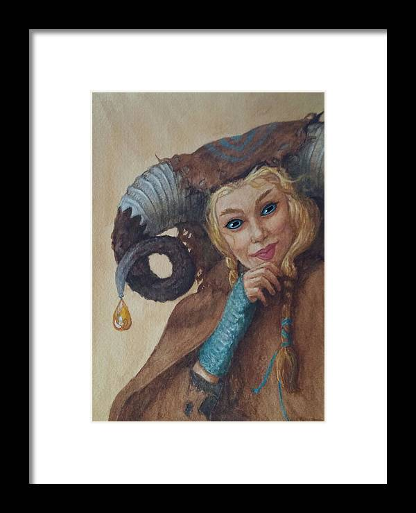 Horned Woman Framed Print featuring the painting Djin by Judy Riggenbach