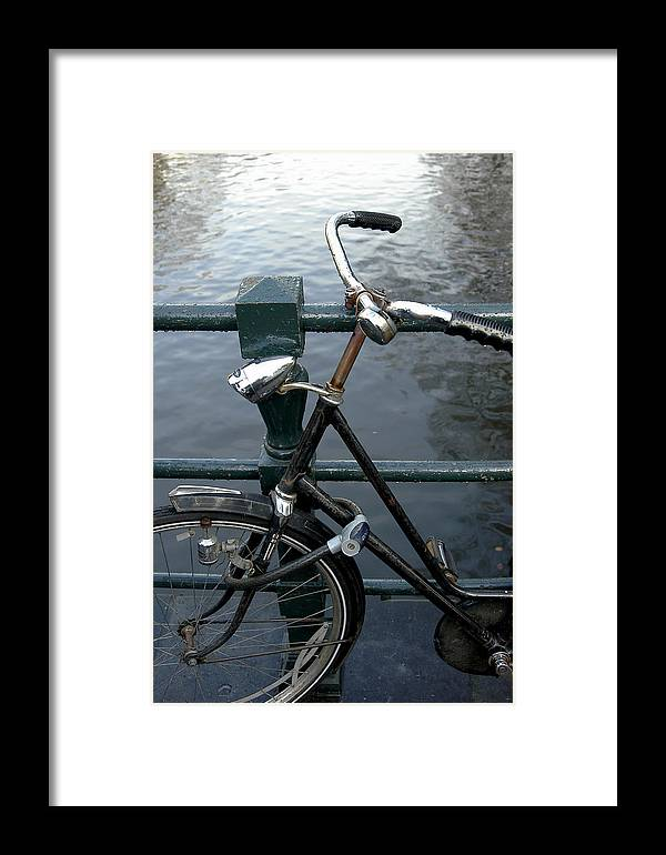 Landscape Amsterdam Red Light District Bicycle Framed Print featuring the photograph Dnrh1104 by Henry Butz
