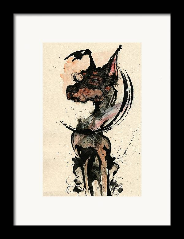 Dog Framed Print featuring the painting Doberman by Mark M Mellon
