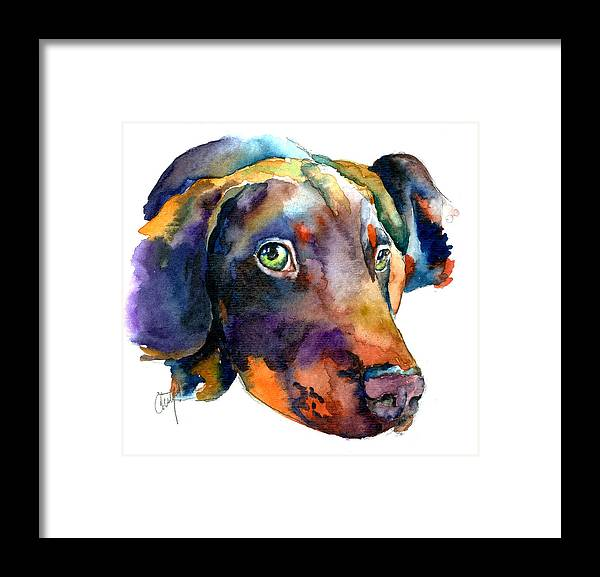 Doberman Framed Print featuring the painting Doberman Watercolor by Christy Freeman Stark
