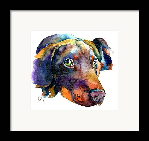 Doberman Framed Print featuring the painting Doberman Watercolor by Christy Freeman