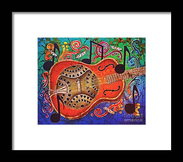 Dobro Framed Print featuring the tapestry - textile Dobro - Slide Guitar by Sue Duda