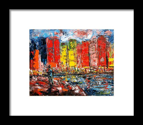 Abstract Framed Print featuring the painting Dock By The Bay by Claude Marshall