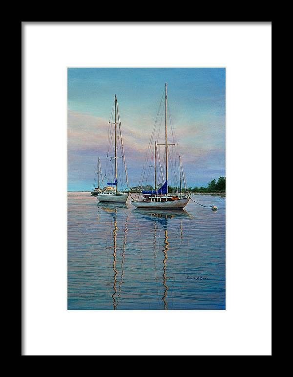 Marine Art Framed Print featuring the painting Dock N Dine by Bruce Dumas