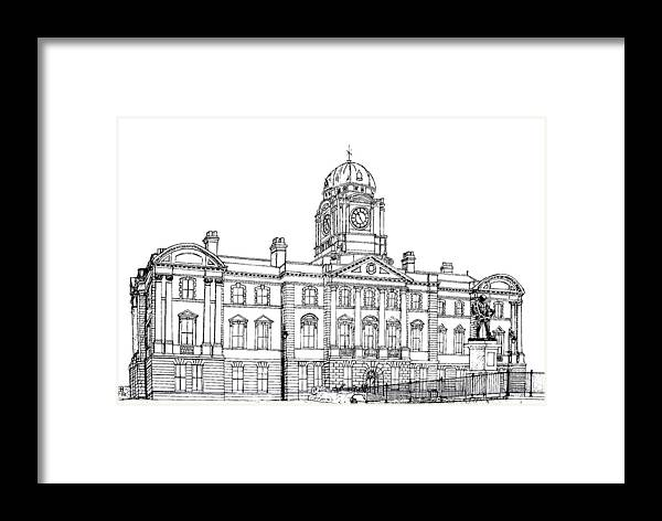 Scenic Drawing Framed Print featuring the drawing Dock Offices. Barry by Frank Hamilton