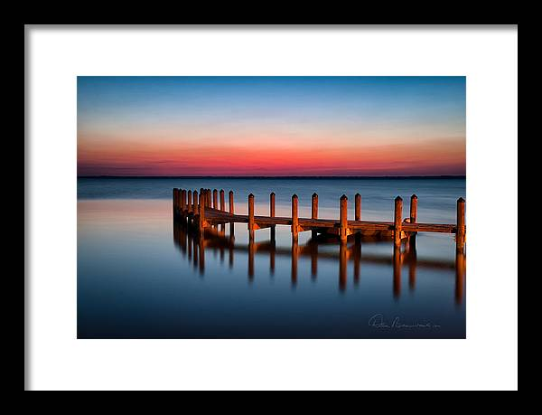 Currituck Sound Framed Print featuring the photograph Dock On Currituck Sound 5665 by Dan Beauvais