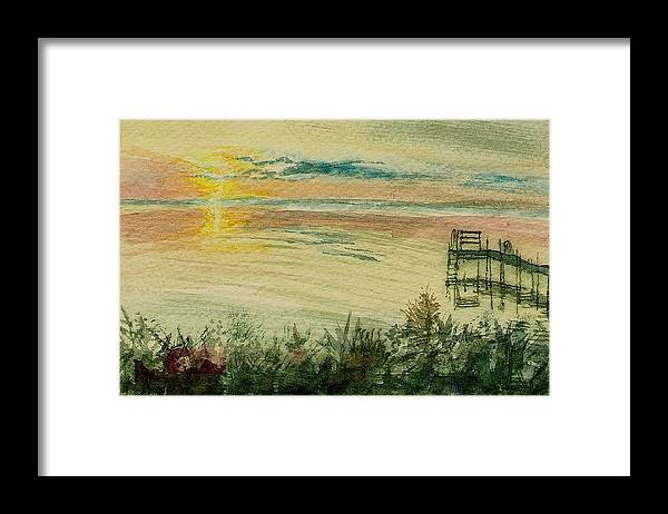 Framed Print featuring the painting Dock On The Bay by Deb Stroh Larson