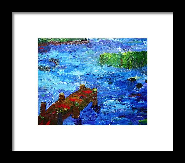Marsh Framed Print featuring the painting Dock On The Marsh by Karen L Christophersen