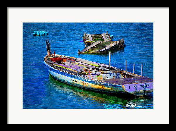 Framed Print featuring the digital art Docked Boat by Danielle Stephenson