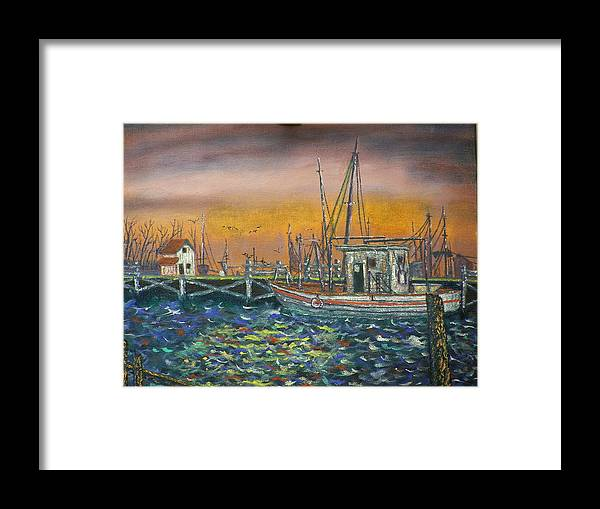 Landscape Framed Print featuring the painting Dockside by Charles Vaughn