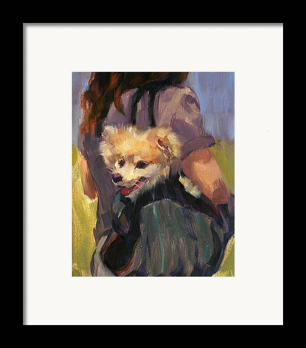 Dog Framed Print featuring the painting Dog In A Backpack by Merle Keller