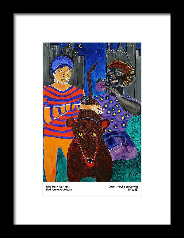 Framed Print featuring the painting Dog Park At Night by Red Jordan Arobateau