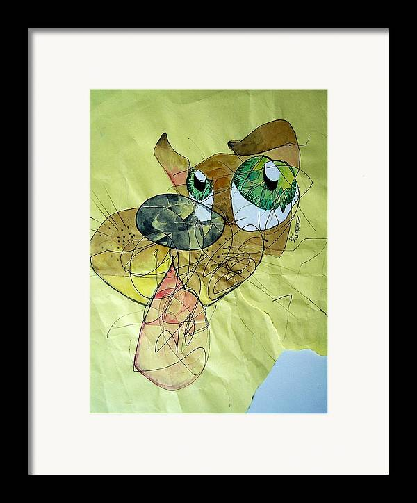 Scribbles Framed Print featuring the digital art Dog by Paulo Zerbato