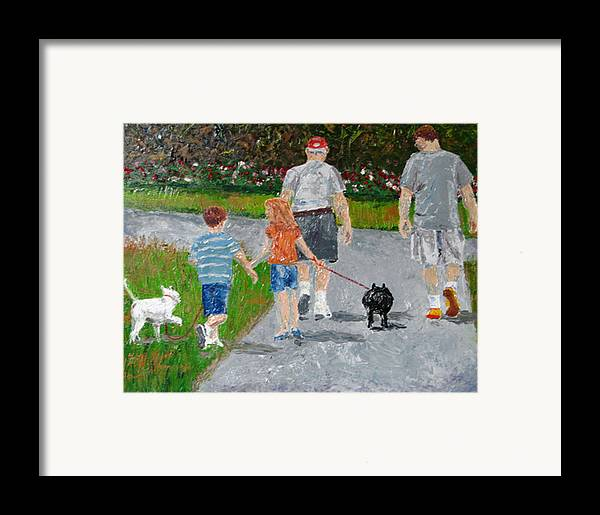 Figure Framed Print featuring the painting Dog Walkers by Libby Cagle