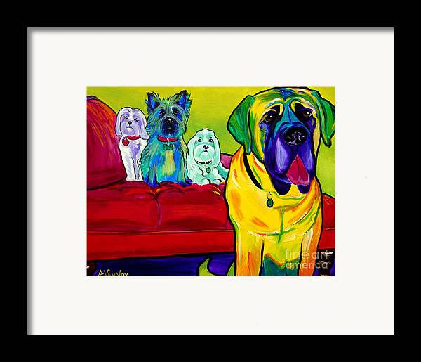 Dog Framed Print featuring the painting Dogs - Droolers Get The Floor by Alicia VanNoy Call