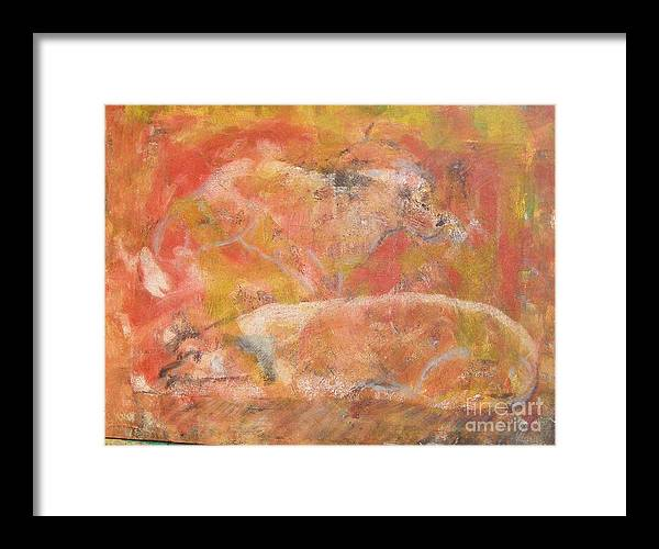 Abstract Framed Print featuring the painting Dogs - Mother And Child by Don Phillips