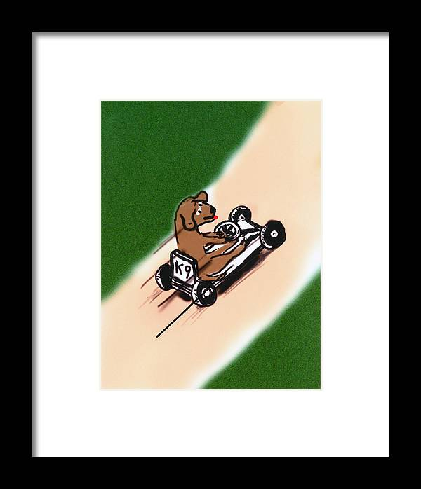 Dogs Framed Print featuring the digital art Dogs Don't Ride Go Carts by Rob Keay