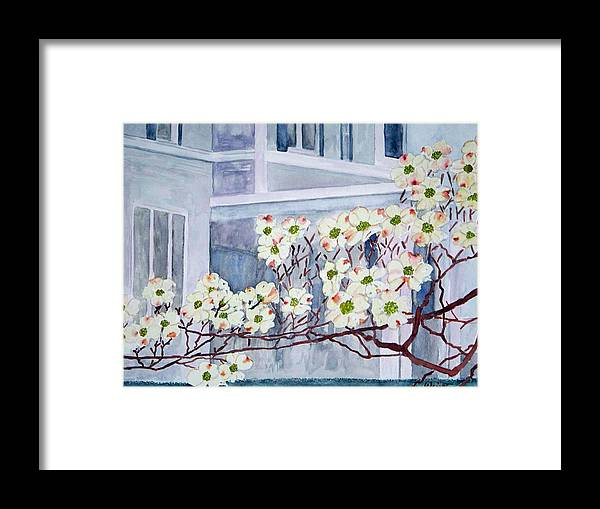 Architecture Framed Print featuring the painting Dogwood Time In Oldtown by Larry Wright