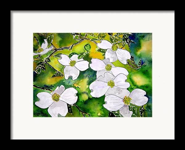 Dogwood Framed Print featuring the painting Dogwood Tree Flowers by Derek Mccrea