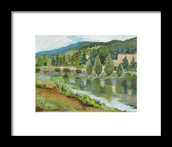 Lake Framed Print featuring the painting Dolan's Lake, Hunter Mt. Ny by Mafalda Cento