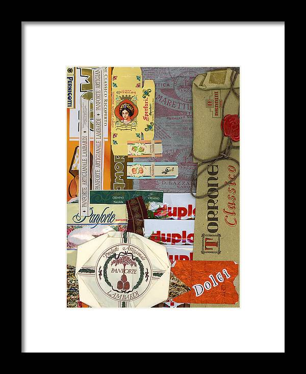 Collage Print Framed Print featuring the mixed media Dolci by Nancy Ferrier