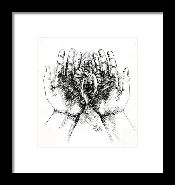 Hands Framed Print featuring the drawing Doll Of Memories Past by Scarlett Royal