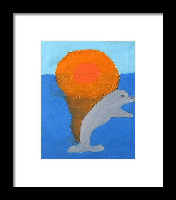 Dolphin Framed Print featuring the pastel Dolphin At Sunset by Melissa Parks