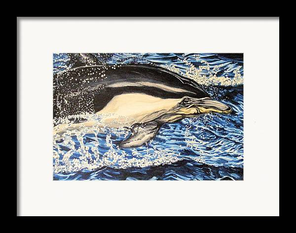 Dolphin Framed Print featuring the painting Dolphin Blue by Donald Dean