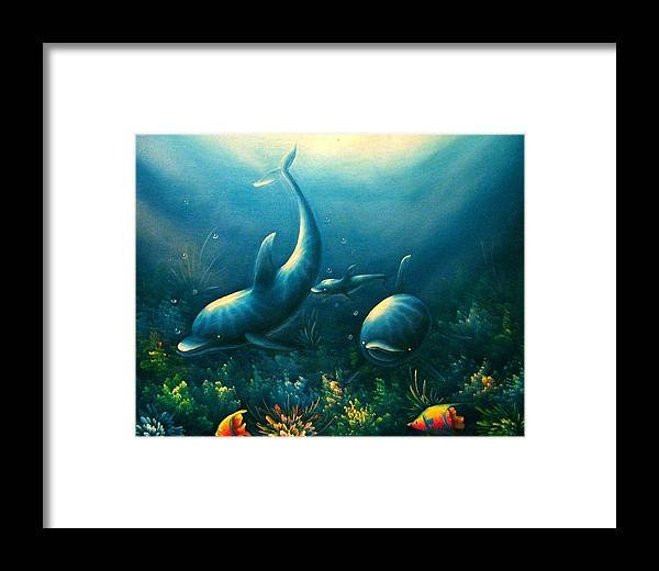 Dolphins Framed Print featuring the photograph Dolphin Euphoria by Maribel McIntosh