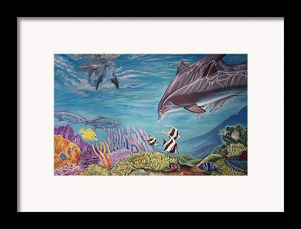 Underwater Scene Framed Print featuring the painting Dolphin Pod by Diann Baggett
