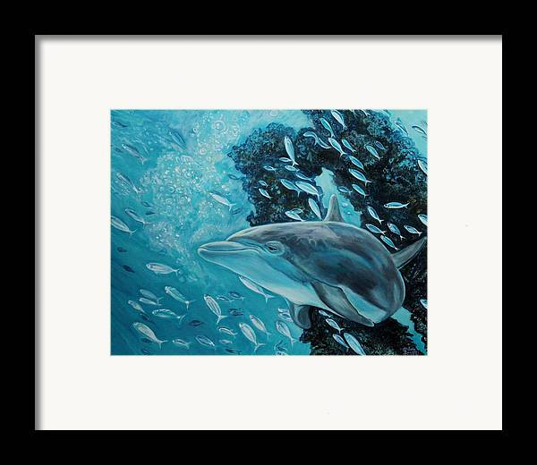 Underwater Scene Framed Print featuring the painting Dolphin With Small Fish by Diann Baggett