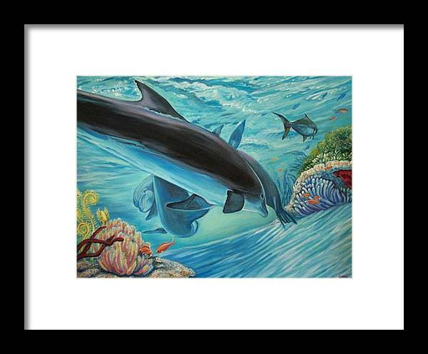 Underwater Scene Framed Print featuring the painting Dolphins At Play by Diann Baggett