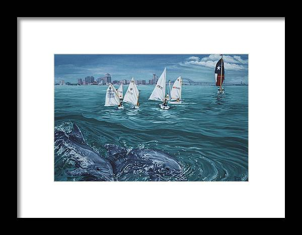 Dolphins Framed Print featuring the painting Dolphins In Corpus Christi Bay by Diann Baggett