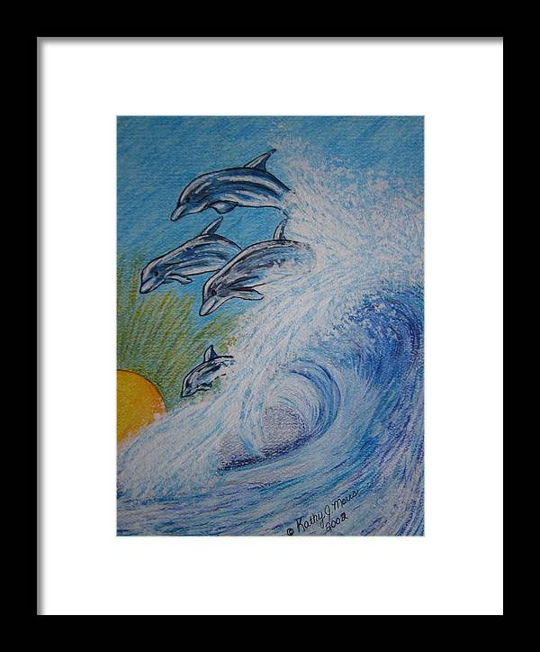 Dolphins Framed Print featuring the painting Dolphins Jumping In The Waves by Kathy Marrs Chandler