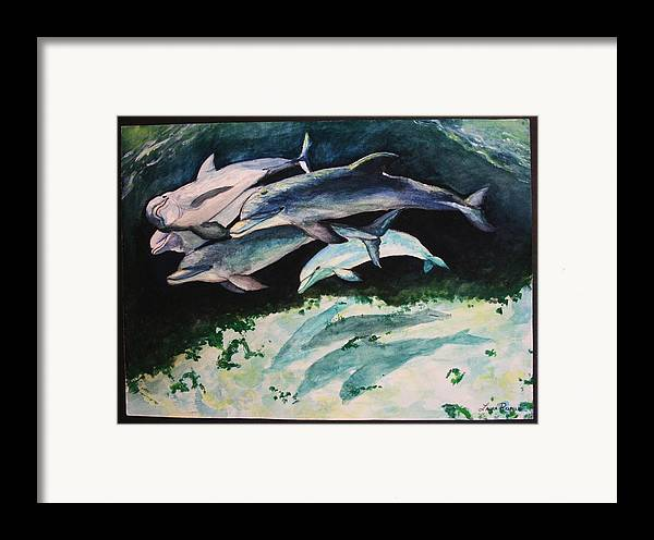 Dolphins Framed Print featuring the painting Dolphins by Laura Rispoli