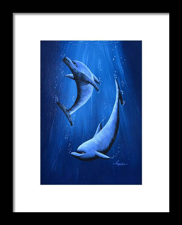 Dolphins Framed Print featuring the painting Dolphins by Roberta Landers