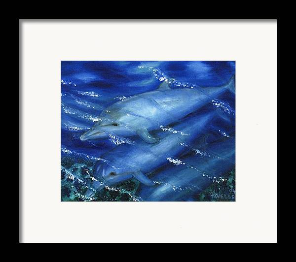 Dolphins Framed Print featuring the painting Dolphins Swimming by Tanna Lee M Wells