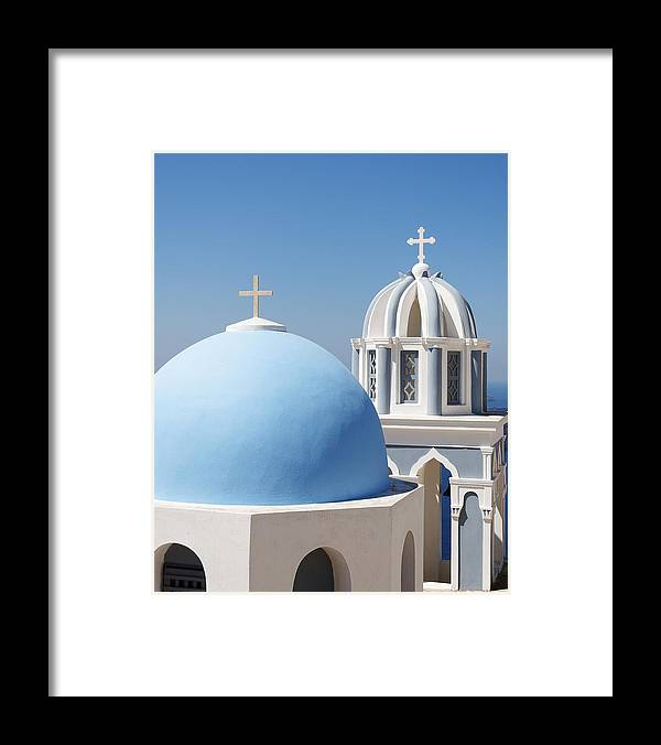 Darin Volpe Architecture Framed Print featuring the photograph Dome And Bell Tower -- Greek Orthodox Church In Fira, Santorini by Darin Volpe