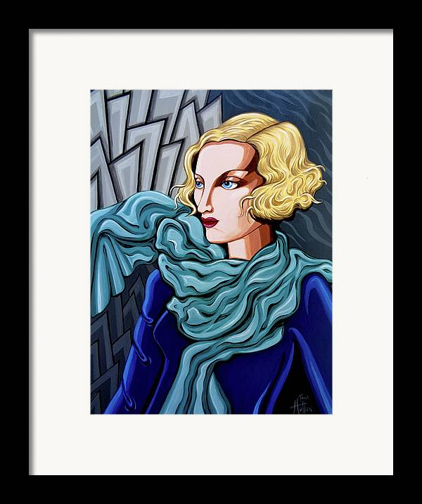 Art Deco Framed Print featuring the painting Dominique by Tara Hutton