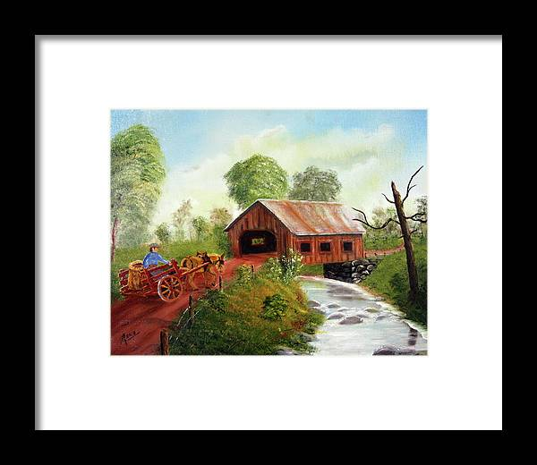 Donkey Framed Print featuring the painting Donkey Freeway by Arno Clabaugh