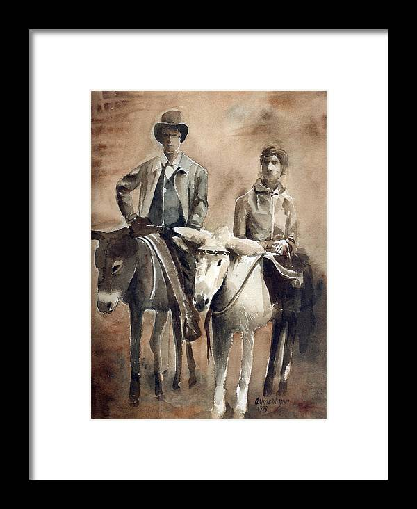 Donkey Framed Print featuring the painting Donkey Ride by Arline Wagner
