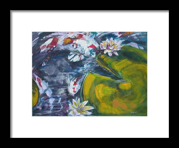Koi Lily Pad Fish Water Waterscape Green Blue Red Acrylic Canvas Framed Print featuring the painting Don't Be Koi by Alan Scott Craig