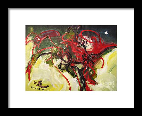 Abstract Paintings Paintings Abstract Art Paintings Framed Print featuring the painting Don't Bother Me by Seon-Jeong Kim