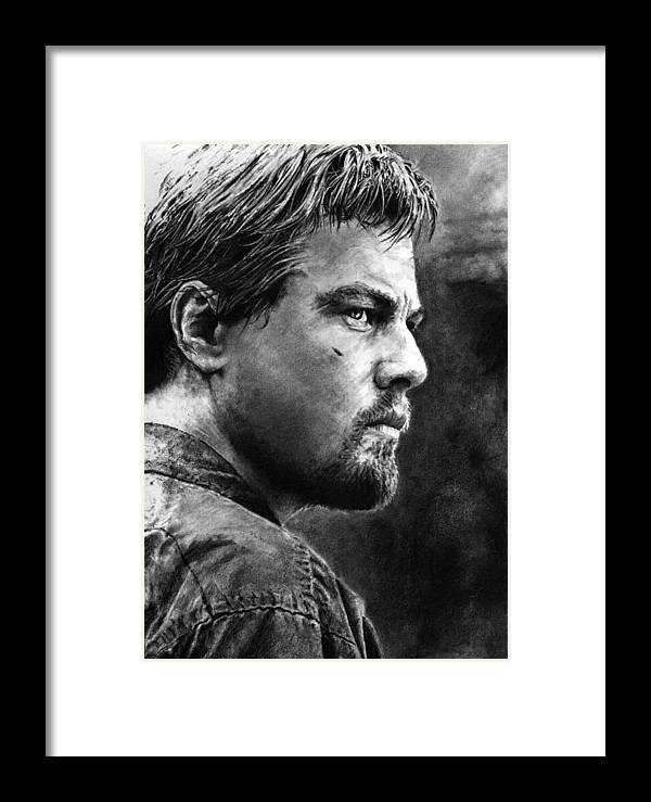 Portrait Portraiture Boy Man Men Life 2d Beautiful Cool Wicked Blood Diamond Africa Actor Detail Framed Print featuring the drawing Don't Bullshit Me by Priscilla Vogelbacher