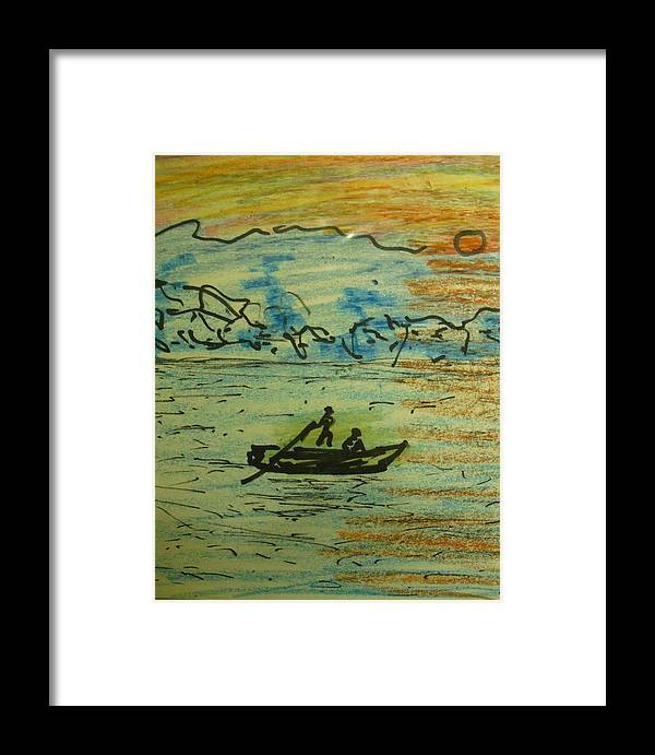 Boat River Landscape Framed Print featuring the drawing Dont Go Cross Yet by Troix Johnson